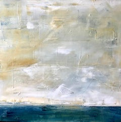 Abstract Sky and Sea, Abstract Landscape, Oil on Canvas, Blue, Yellow, Sea, Sky