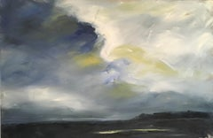 Approaching Storm, Waterscape, Abstract Landscape, Oil on Linen, Blue, Yellow