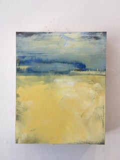 August Day, Waterscape, Oil, Yellow, Blue, Water, Sky, Small artwork, wood panel