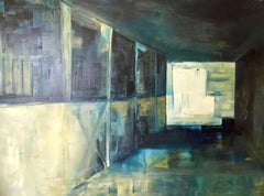 Barn at Dusk, Interior, Architectural, Oil, Blue, Green, White,  shadow