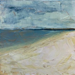 Compo Beach Summer, Water, Abstract Landscape, Oil on Wood, Blue, Small