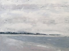 Compo Jetty, Waterscape, Abstract Landscape, Oil on Linen, Blue, White, Beach