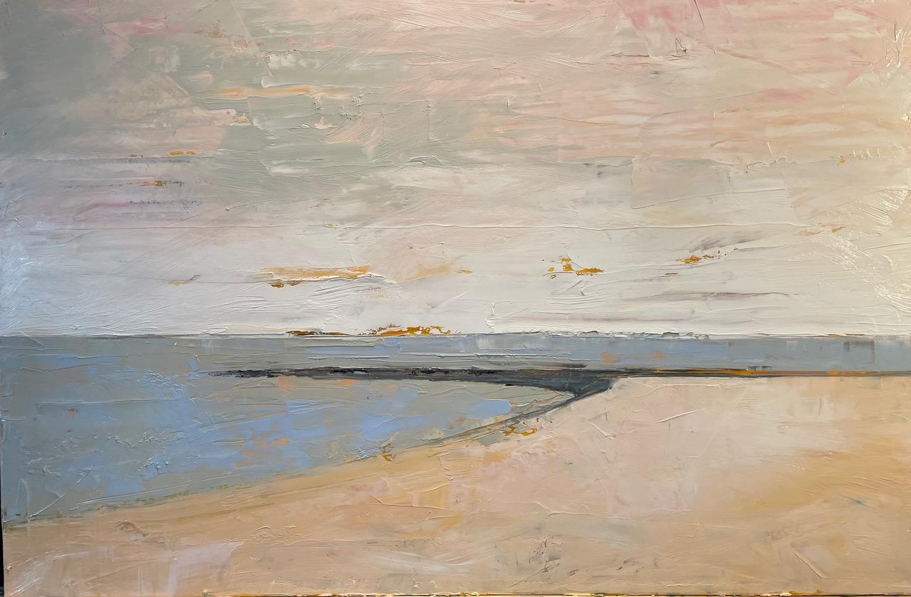 Compo Pink Sky, Waterscape, Abstract Landscape, Oil on Linen, Pink, White, Beach