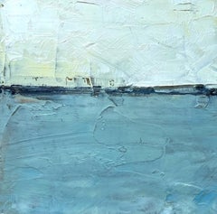 Connecticut Salt Marsh, Water, Abstract Landscape, Oil on Wood, Blue, Small