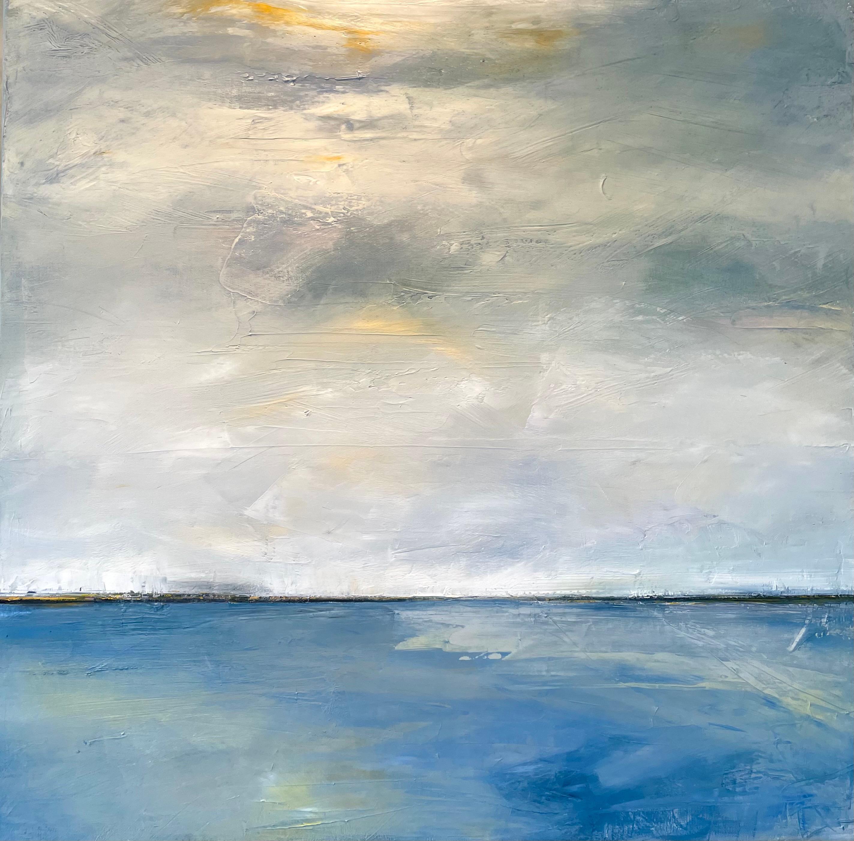 Crisp Air, Waterscape, Abstract Landscape, Oil, White, Blue, Sky