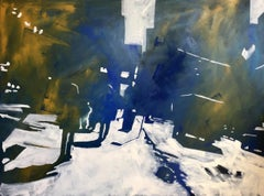 Fifth Avenue, Cityscape, Figures, shadows, Blue, yellow, white, oil, New York