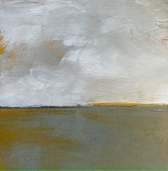 Golden Marsh, Water, Abstract Landscape, Oil on Wood, Green, Yellow, White,Small