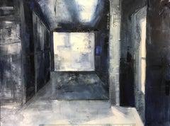 Hampton Barn, Interior, Architectural, Oil on Canvas, Blue, White, light, shadow