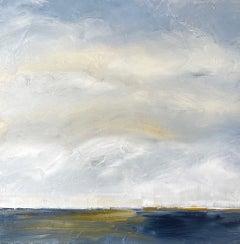 Hidden Bijou Sun, Waterscape, Abstract Landscape, Oil on Canvas, Blue, White