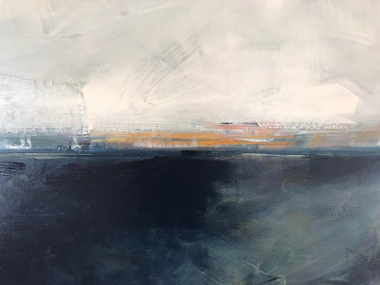 Hidden Sun, Abstracted Landscape, Oil on Linen, Blue, White, Gray, Seascape, Sea - Painting by Dale Najarian