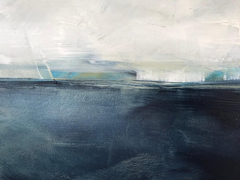 Hidden Sun, Abstracted Landscape, Oil on Linen, Blue, White, Gray, Seascape, Sea - Contemporary Painting by Dale Najarian