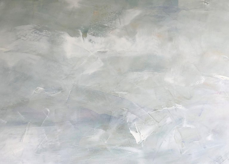 Dale Najarian, Hidden Sun, Oil on Canvas, 48x60.  An abstracted landscape and seascape.  It is filled with water and skies.  Strong blue and white and gray colors.  Dale Najarian received her BFA from Moore College of Art & Design in Philadelphia.
