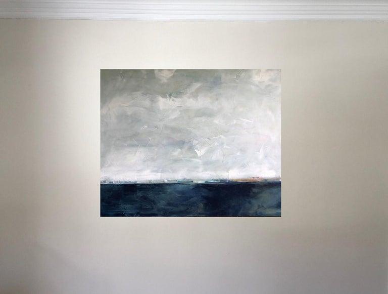 Hidden Sun, Abstracted Landscape, Oil on Linen, Blue, White, Gray, Seascape, Sea For Sale 1