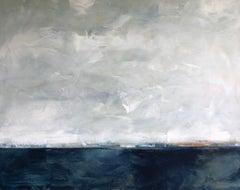 Hidden Sun, Abstracted Landscape, Oil on Linen, Blue, White, Gray, Seascape, Sea