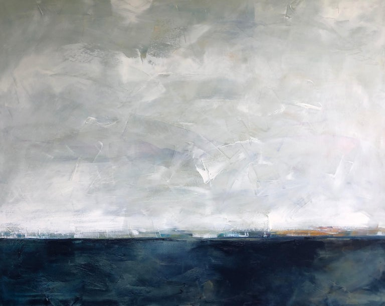 Dale Najarian Landscape Painting - Hidden Sun, Abstracted Landscape, Oil on Linen, Blue, White, Gray, Seascape, Sea
