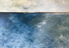 In Too Deep, Abstracted Landscape, Oil on Linen, Blue, White, Gray, Seascape