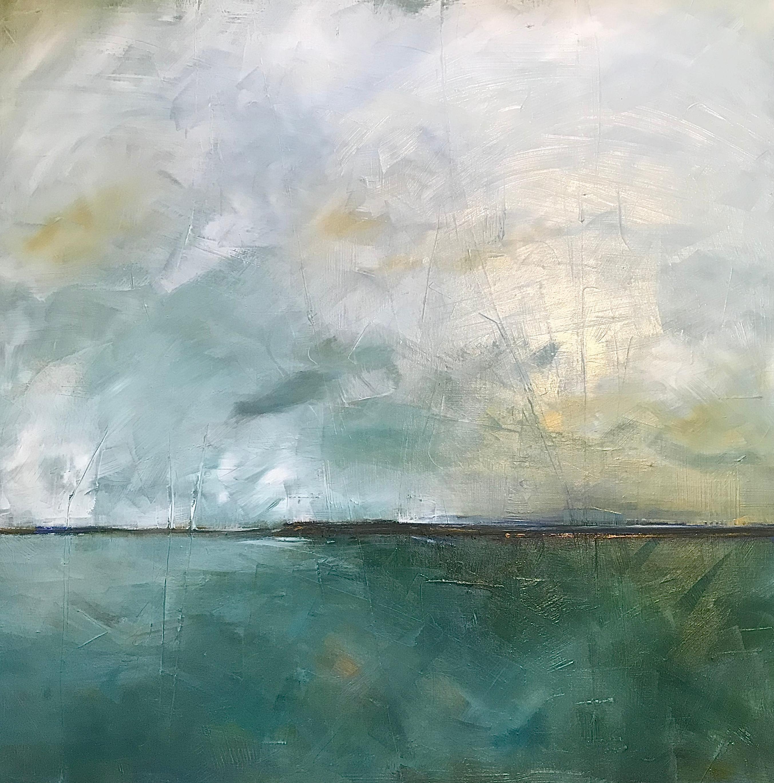 Jewel Landscape, Waterscape, Abstract Landscape, Oil on Linen, Green, White