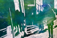 Jewel Shadows, abstract cityscape, Figurative shadows, yellow, green, white, oil