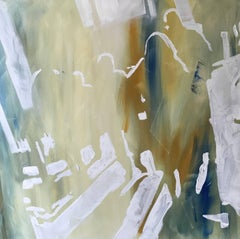 Long Day, abstract cityscape, Figurative shadows, yellow, green, white, oil