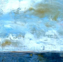 New England White Clouds, Water, Abstract Landscape, Oil on Wood, Blue, Small