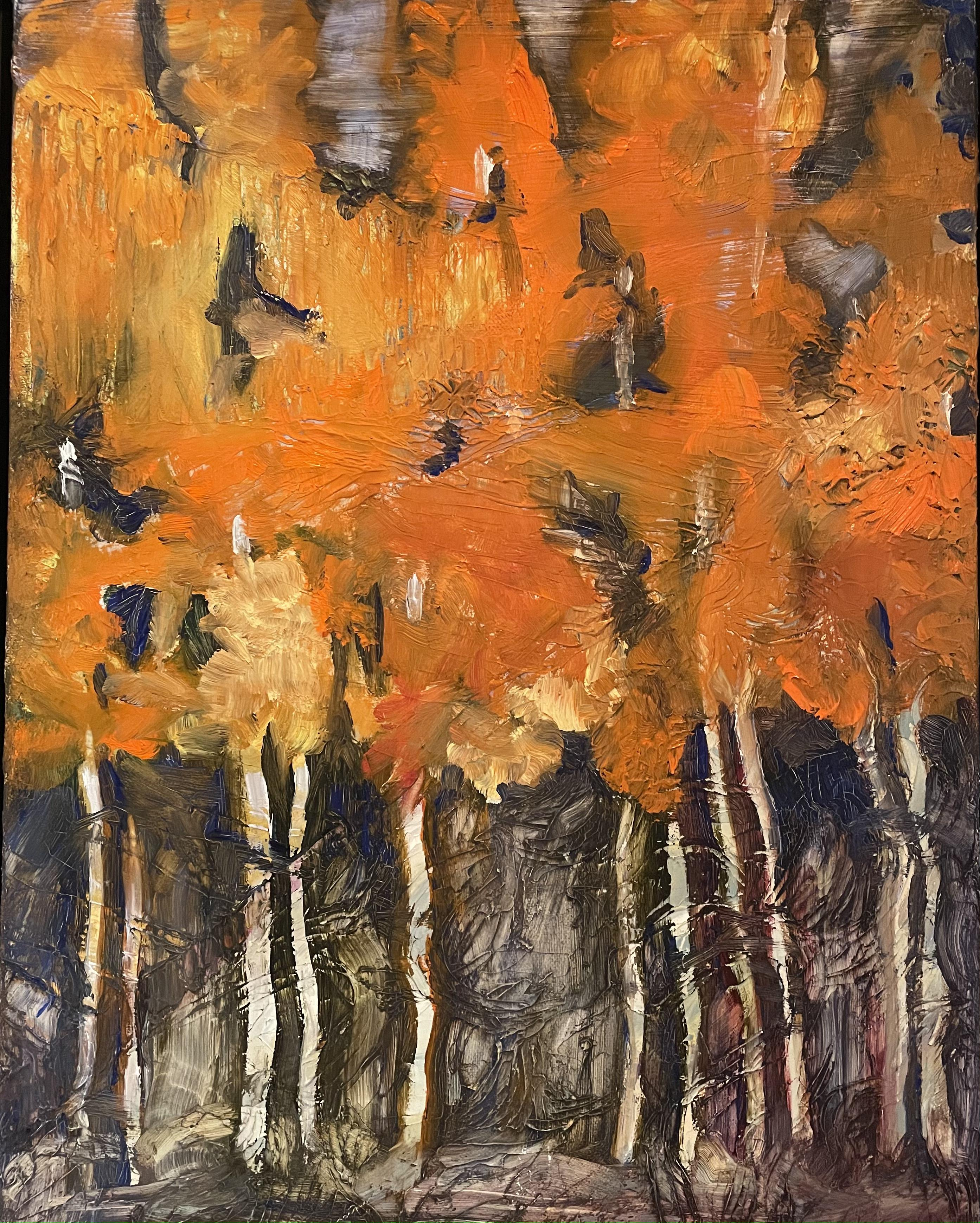Orange Forests Trees, Abstract Landscape, Oil on Linen, Orange, Yellow