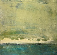 Rough Surf, Water, Abstract Landscape, Oil on Wood, Blue, Green, Small