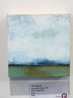 Spring Marsh Study, Water, Abstract Landscape, Oil on Wood, Blue, Yellow, Small