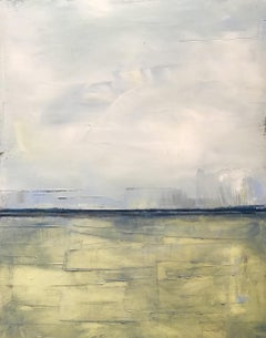 Summer Wind, Landscape, Waterscape, Oil, Wood Panel, Yellow, serene Blue, Water