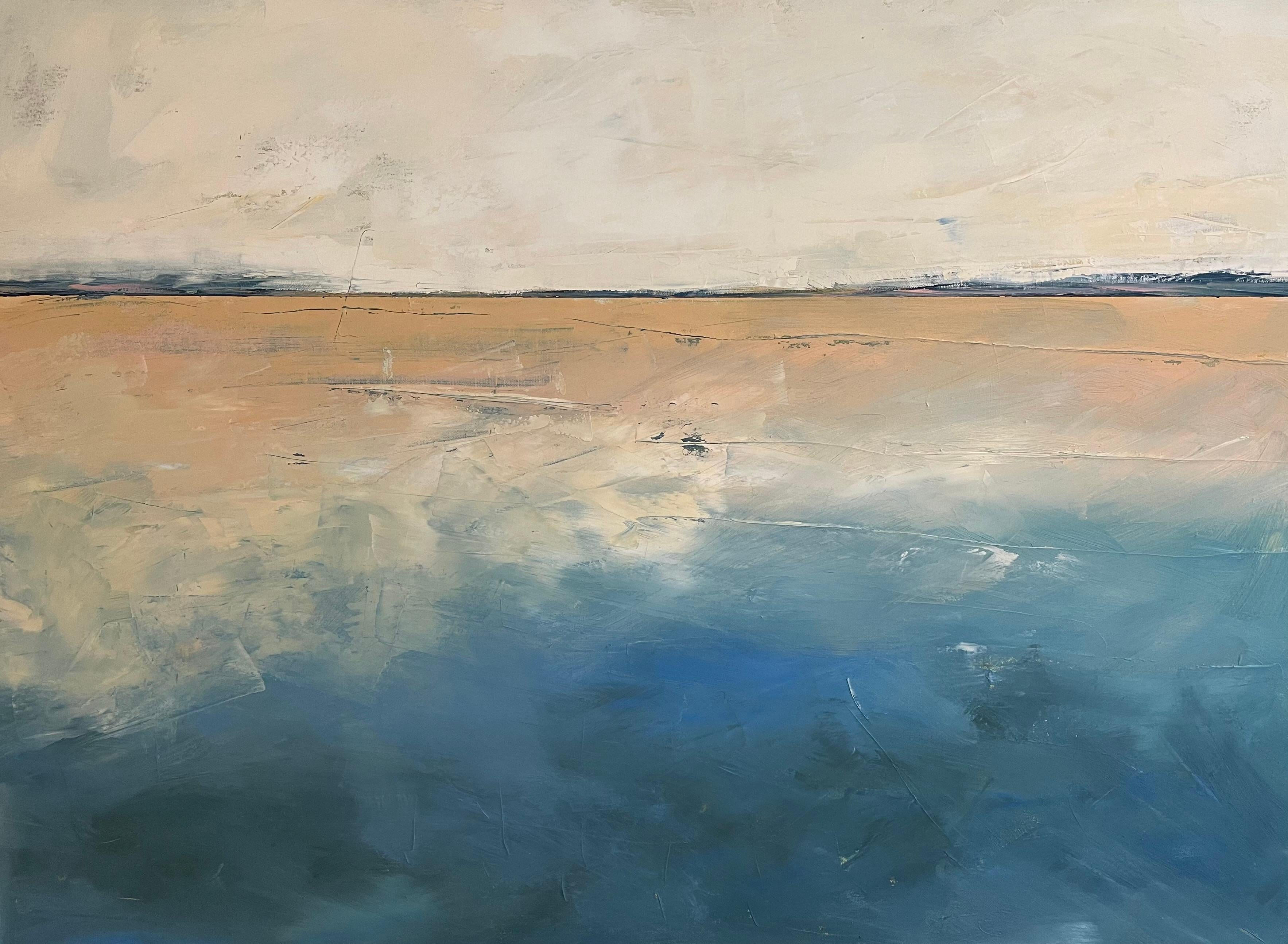 The Perfect Day, Waterscape, Abstract Landscape, Oil, Linen, Pink, White, Beach