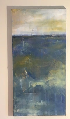 Untitled, Abstracted Vertical Landscape, Oil on Canvas, yellow, blue