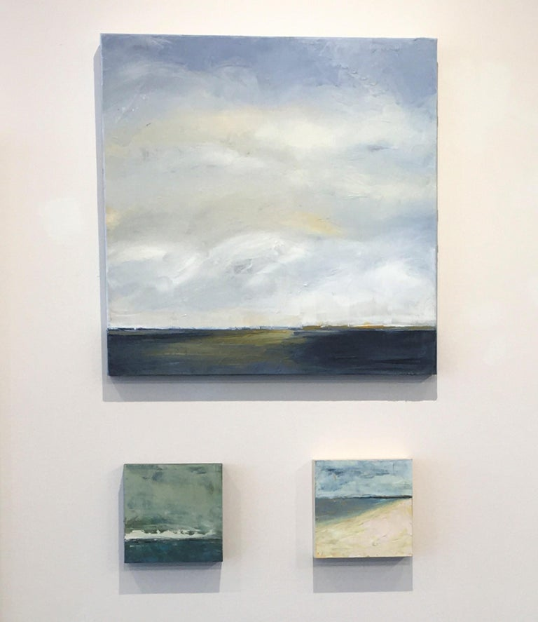 Westport Seascape, Waterscape, Oil, Wood Panel, Water, Sea, Sky,  - Gray Landscape Painting by Dale Najarian