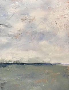 Winter Sky, Small Landscape, Oil, Wood Panel, Blue, Gray, Green, Water