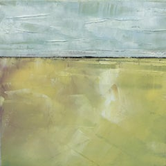 Yellow Field, Waterscape, Abstract Landscape, Oil on Wood, Blue, Yellow, Small