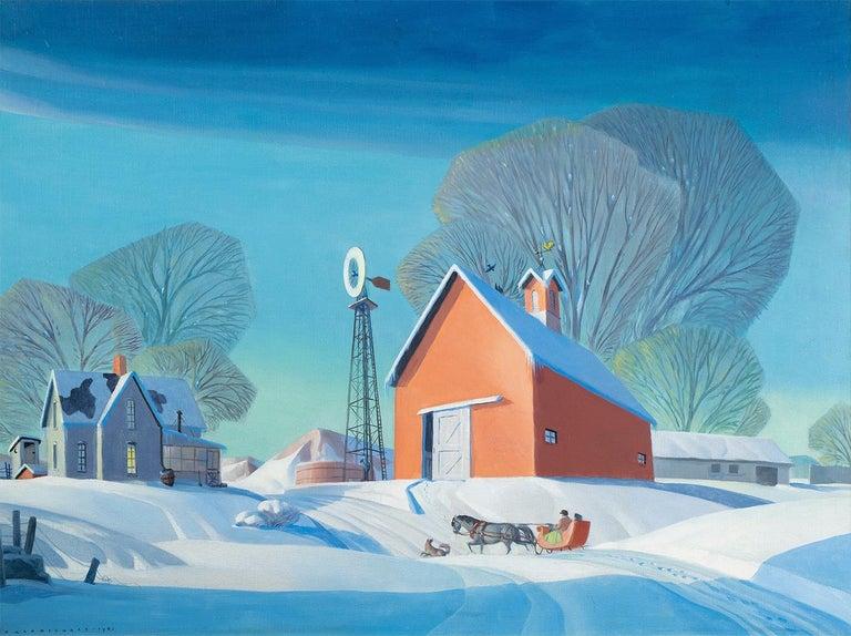 Dale Nichols Landscape Painting - Winter on the Farm