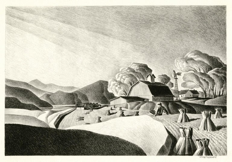 Dale Nichols, 'Golden Harvest', lithograph, edition 250, 1948. Signed in pencil. A fine, richly-inked impression, on cream wove paper; the full sheet with margins (1 1/4 to 2 1/4 inches), in excellent condition. Matted to museum standards.