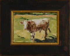 Brown Cow (Impressionistic Animal Painting of a Cow on a Green Farm Landscape)