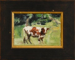 Brown Cow: Impressionistic Rural Farm Painting of Cow in Green Landscape