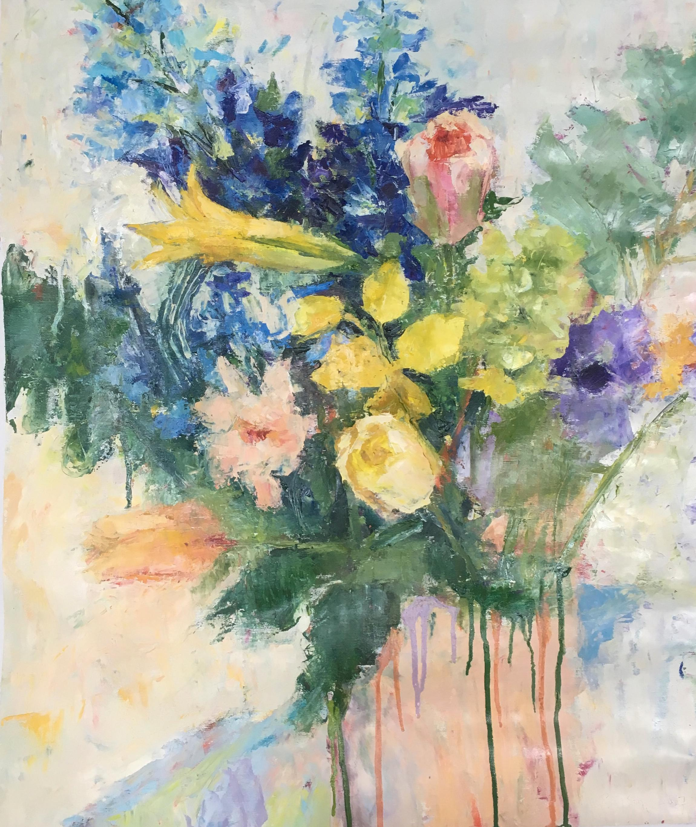 Floral Bouquet (Lively Still Life Oil Painting of Flowers on Canvas)