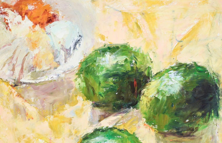 Limes (Impressionistic Still Life Painting of Green Fruit on Yellow Tablecloth) - Beige Figurative Painting by Dale Payson