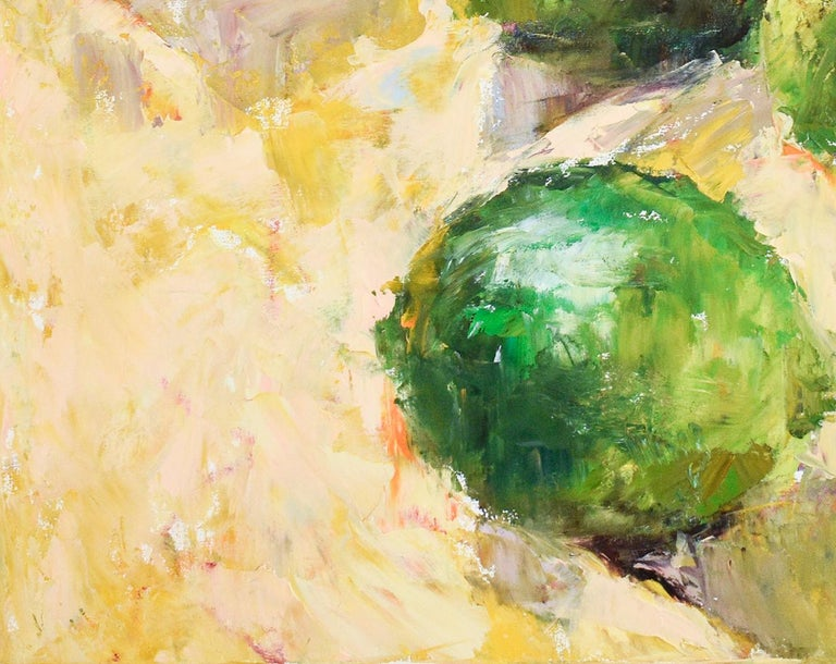 Impressionist style still life painting on canvas of green limes on yellow tablecloth  oil on canvas 36 x 36 inches  Pale yellow painted sides Signed, lower right   This luscious fruit still life painting was made by Hudson Valley based artist, Dale