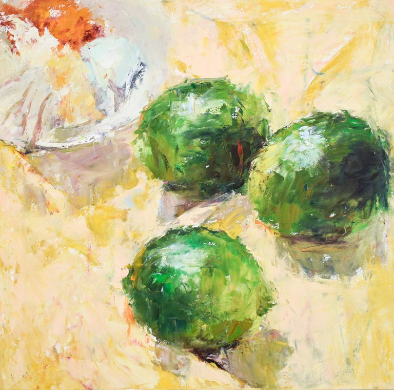 Dale Payson Figurative Painting - Limes (Impressionistic Still Life Painting of Green Fruit on Yellow Tablecloth)