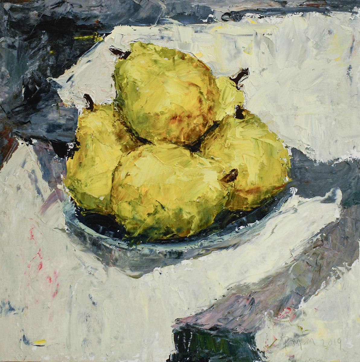 Pears II (Impressionistic Fruit Still Life Painting of Chartreuse Yellow Pears)