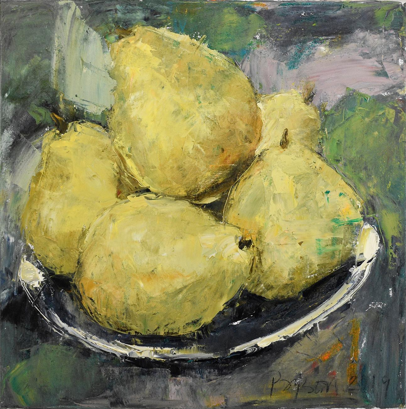 Pears (Impressionistic Fruit Still Life Painting of Chartreuse Yellow Pears)