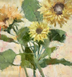 Sunflowers (Lively Still Life Oil Painting of Floral Bouquet on Canvas)