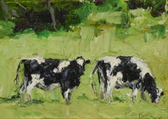 Two Farm Cows (Impressionistic Landscape Painting of Milks Cows in Green Grass)