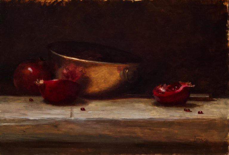 This gorgeously rich still life of pomegranates in a copper bowl is framed in an equally lovely handmade wooden frame with a gold lip. Evoking the still life masterpieces of the Dutch Golden Age, this piece is guaranteed to bring years of viewing