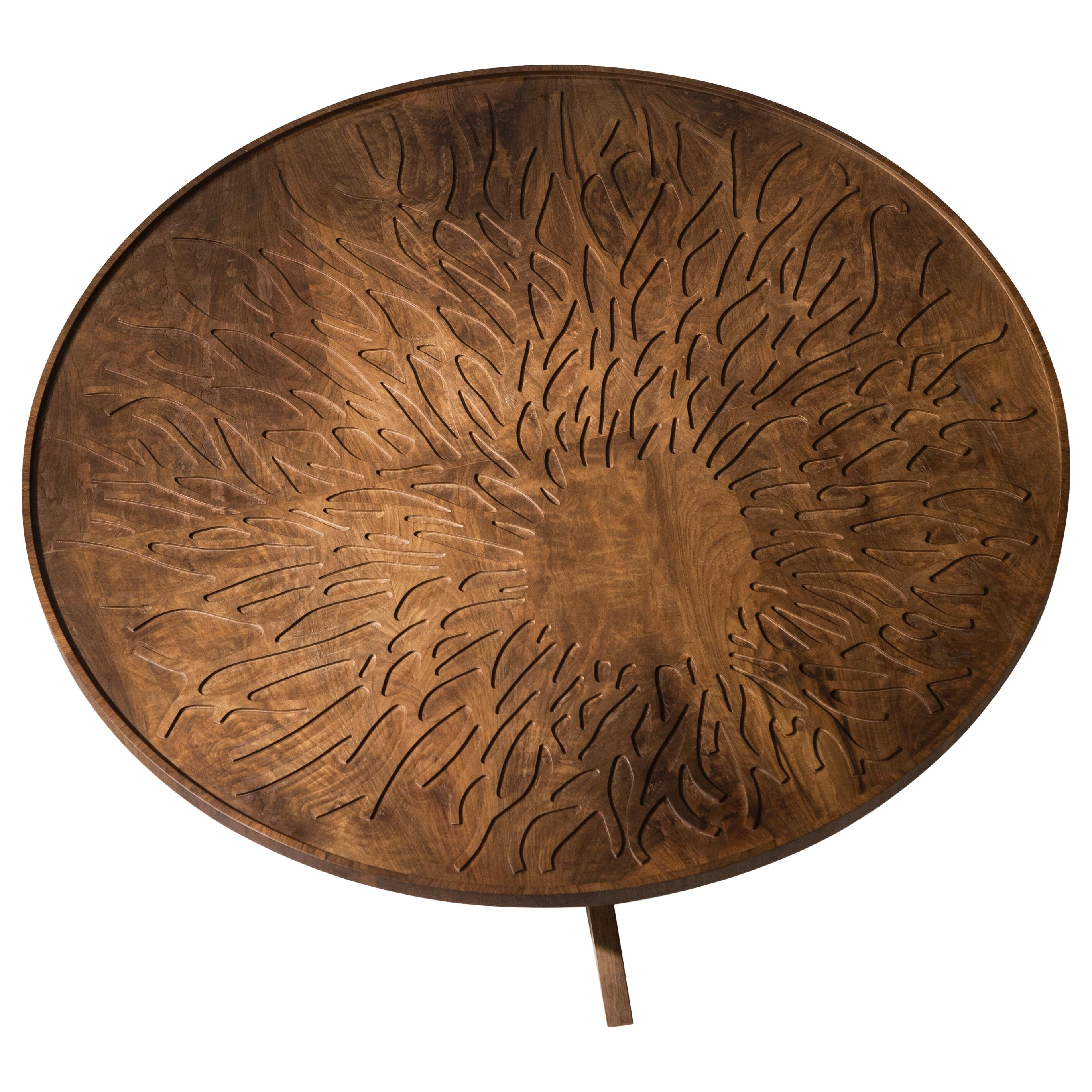 Dali Coffee Table, Solid Walnut Wood Coffee Table with Branch Carved Top Design