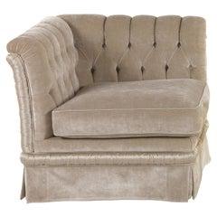 DALì Italian Armchair, Velvet with Button Tufted Back & Left Armrest by Zanaboni
