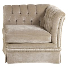 Dalì Italian Armchair Velvet with Button Tufted Back and Right Armrest, Zanaboni