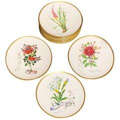 "Dali ""Las Flores Dalinianas"" Set of 8 Dessert Plate Limited Edition 1981 N°6244"